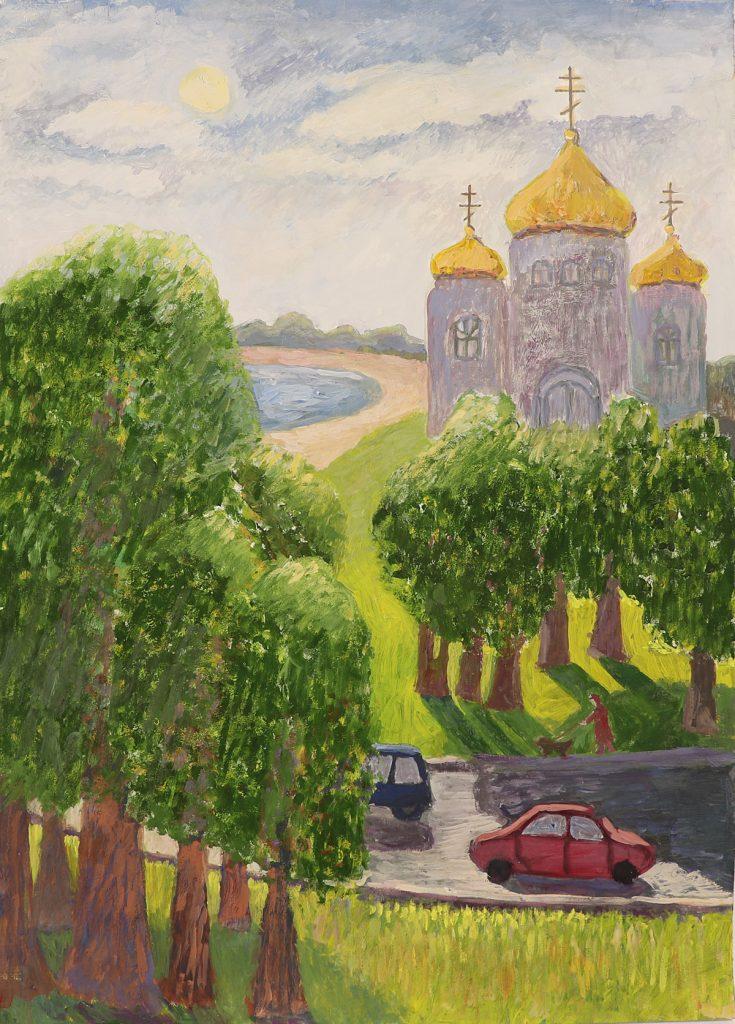 Медведева Екатерина, обучающаяся МБУДО «Руднянская детская школа искусств». Работа «Любимый храм».