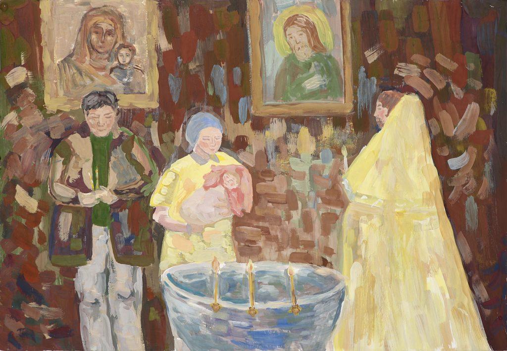 Селезнева Виктория, обучающаяся МБУДО «Руднянская детская школа искусств». Работа «Крещение сестры».